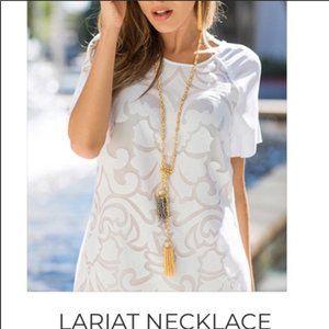 MKC Lariat Jeweled NWT Gray Gold Beaded Necklace